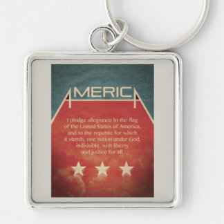 Pledge of Allegiance Silver-Colored Square Key Ring