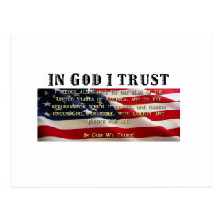 Pledge of Allegiance. Trust in God. Postcard