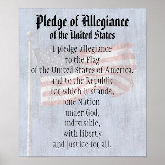 Pledge of Allegiance US Flag History Classroom Poster