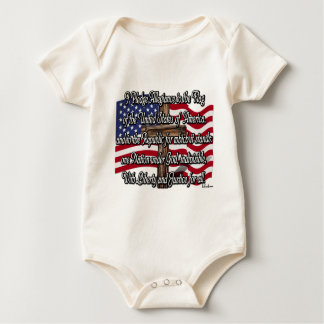 Pledge of Allegiance with US Flag and Cross Baby Bodysuit
