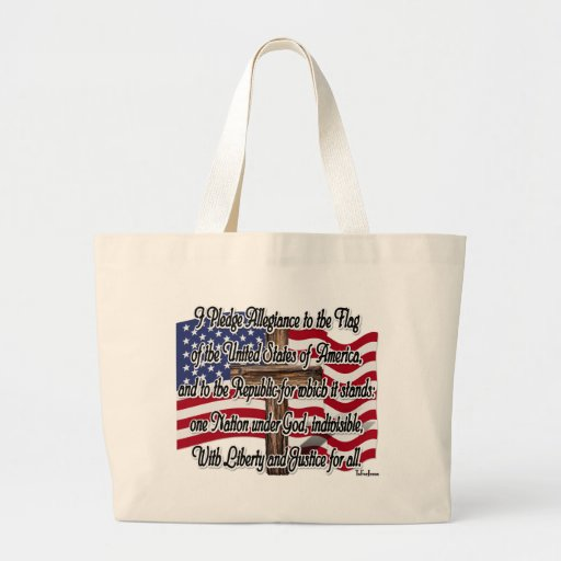 Pledge of Allegiance with US Flag and Cross Tote Bags