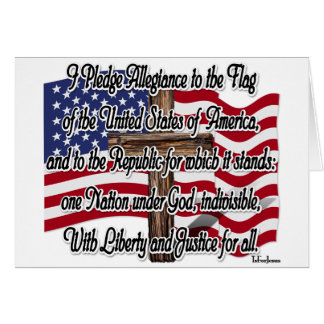 Pledge of Allegiance with US Flag and Cross Greeting Card