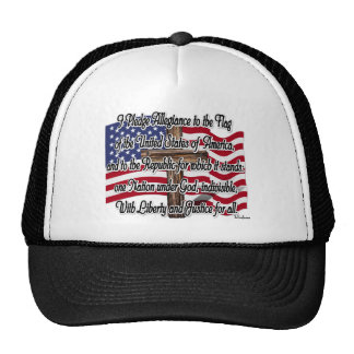 Pledge of Allegiance with US Flag and Cross Mesh Hat