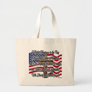 Pledge of Allegiance with US Flag and Cross Jumbo Tote Bag