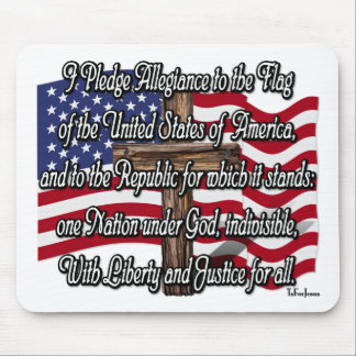 Pledge of Allegiance with US Flag and Cross Mouse Pad