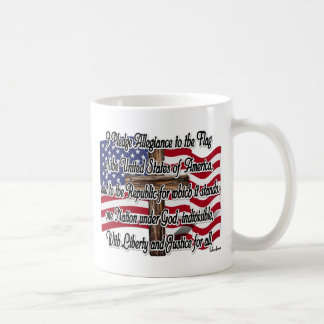 Pledge of Allegiance with US Flag and Cross Mugs