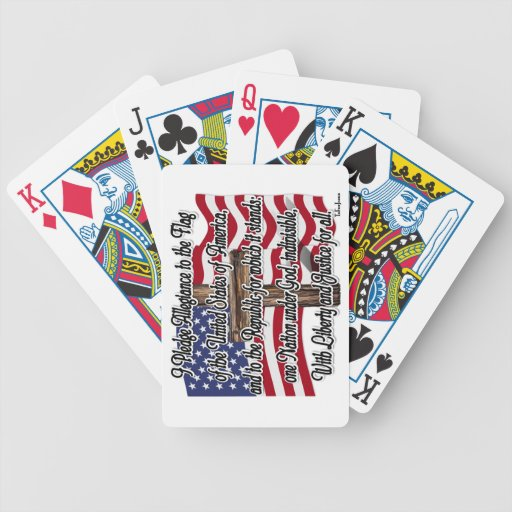 Pledge of Allegiance with US Flag and Cross Bicycle Card Decks