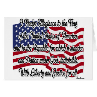 Pledge of Allegiance with US Flag Greeting Card