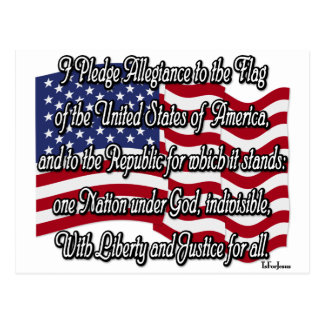 Pledge of Allegiance with US Flag Post Cards