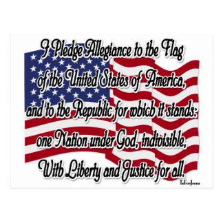 Pledge of Allegiance with US Flag Postcard