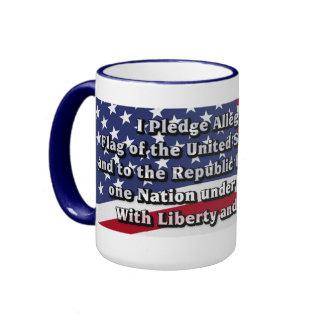 Pledge of Allegiance with US Flag Ringer Mug