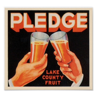 Pledge Vintage Crate Label - Lake County Fruit Poster
