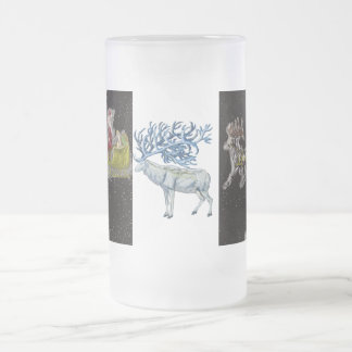 Pleistocene Christmas with Snowflake Megaloceros Frosted Glass Beer Mug