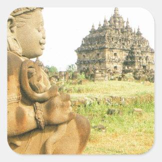 Pleosan Buddhist temple, Prabanam, Java, Indonesia Square Sticker