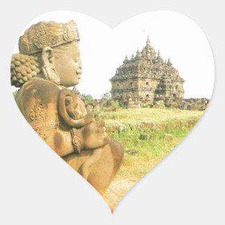 Pleosan Buddhist temple Prabanam Java Indonesia Heart Stickers