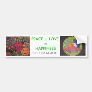 plh2, phl3, PEACE + LOVE  =  HAPPINESS, JUST IM... Bumper Sticker