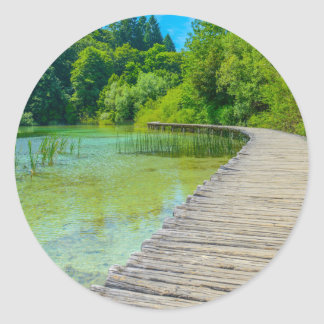 Plitvice National Park in Croatia Hiking Trails Classic Round Sticker