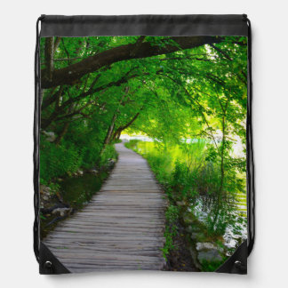 Plitvice National Park in Croatia Hiking Trails Drawstring Bag