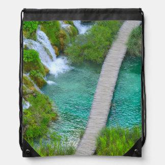 Plitvice National Park in Croatia Hiking Trails Drawstring Bag