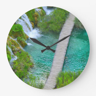 Plitvice National Park in Croatia Hiking Trails Large Clock