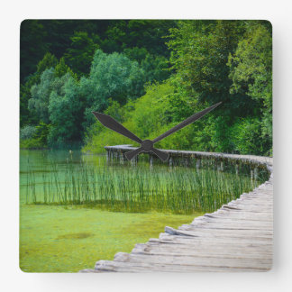 Plitvice National Park in Croatia Hiking Trails Square Wall Clock