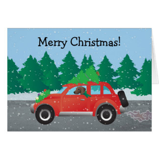 Plott Hound Dog Driving Christmas Car Card