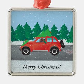 Plott Hound Dog Driving Christmas Car Silver-Colored Square Decoration