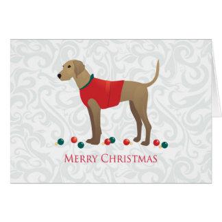 Plott Hound Hunting Dog Merry Christmas Design Card
