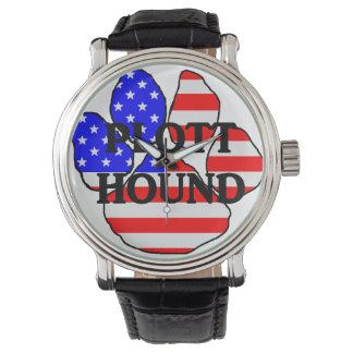 plott name usa-flag paw watch