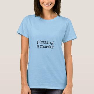 Plotting a murder writer's t-shirt with hand/ pen