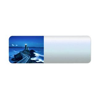 Plouzane, France - Lighthouse Return Address Label