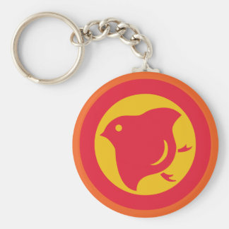 Plover (warm colours) basic round button key ring