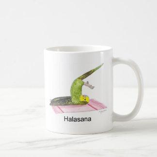 Plow pose parakeet coffee mug