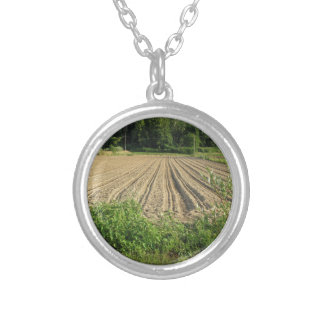 Plowed field in the late afternoon in Tuscany Silver Plated Necklace