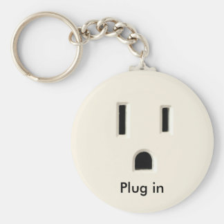 Plug in basic round button key ring