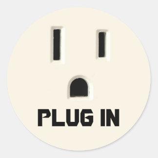 Plug in round sticker
