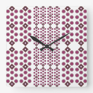 Plum and Brown Geometric Wall Clock