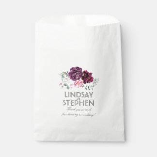 Plum and Burgundy Flowers Elegant Favour Bag