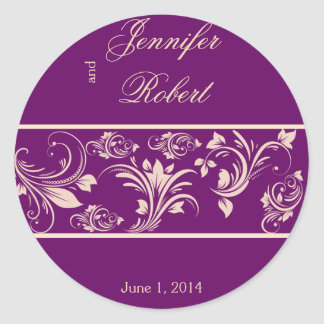 Plum and Champagne Floral Scroll Envelope Seal Round Sticker