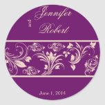 Plum and Champagne Floral Scroll Envelope Seal Sticker