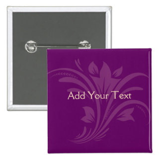 Plum and Cream Floral Scroll 15 Cm Square Badge