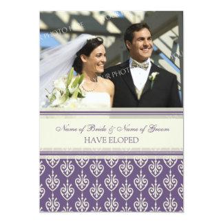 Plum and Cream Photo Elopement Announcement Cards