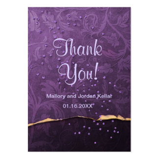 Plum and Gold Damask Thank You Pack Of Chubby Business Cards