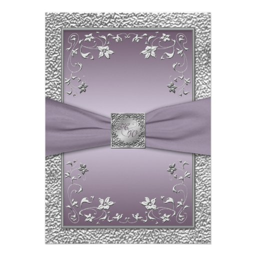 Plum and Pewter Floral Monogrammed Invitation