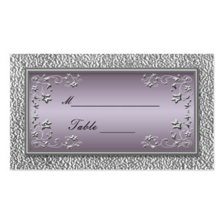 Plum and Pewter Floral Placecards Pack Of Standard Business Cards