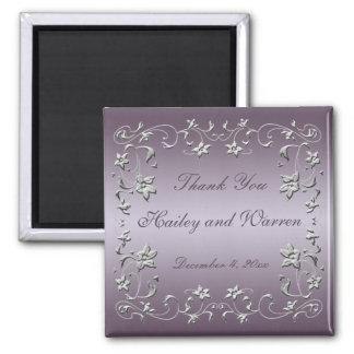 Plum and Pewter Floral Wedding Favor Magnet