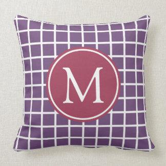 Plum and Pomegranate Lattice Monogram Cushion