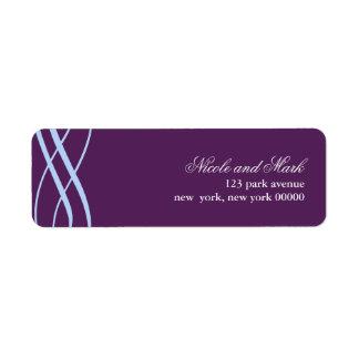 Plum and Powder Blue Wedding Address Return Labels