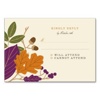Plum and Pumpkin Fall Wedding RSVP Card