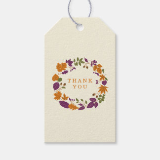 Plum and Pumpkin Fall Wreath Wedding Gift Tags